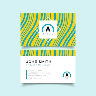 Template for business cards with distorted lines
