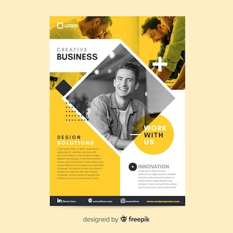 Template business flyer mosaic