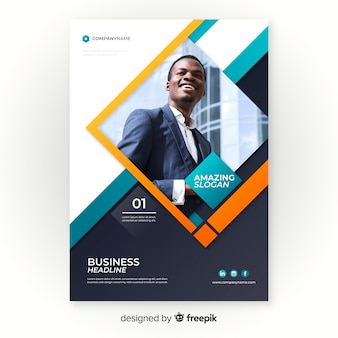 Template business flyer with photo