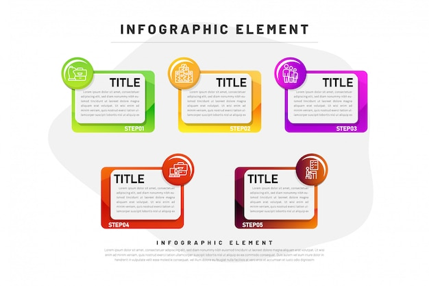 Template business infographic  gradient with element 5 step