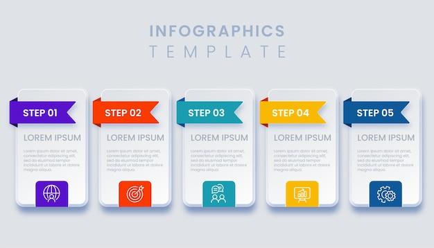 5ステップの図のテンプレートビジネスインフォグラフィック