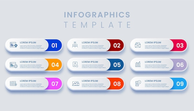 Template business infographic with 9 options illustration