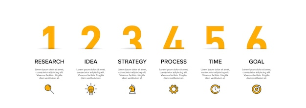 Template for business infographics. six options or steps with icons and text.