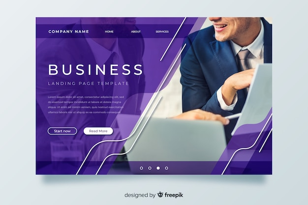 Template business landing page with image