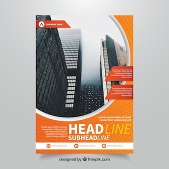 Template of business leaflet with orange elements