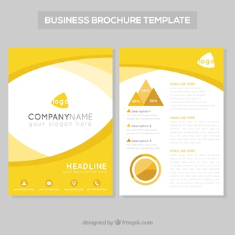 Template of business leaflet with wavy shapes