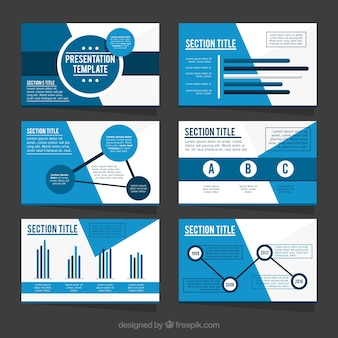 Template of business presentation in blue tones