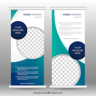 Template of business roll up with abstract forms