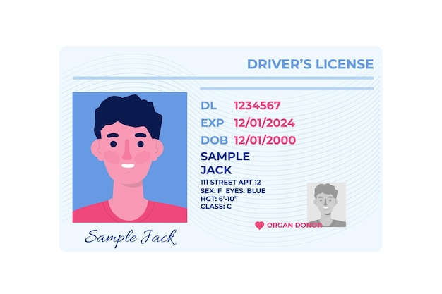 Template of car driver license plastic card.
