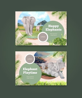 Template card illustration with elephant funning concept,watercolor style