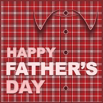 Шаблон открытки на день отца, клетчатая рубашка