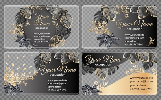 Template cards with dark and gold tropical leaves
