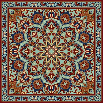 Template for carpet textile cushion shawl oriental floral ornament with frame
