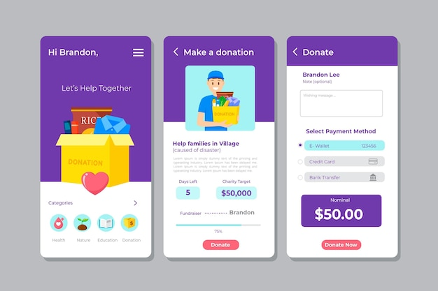 Template for charity app interface