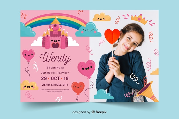Template for child birthday invitation template