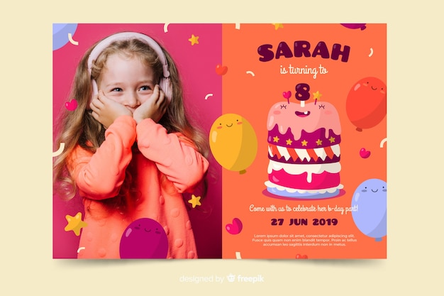 Template children birthday invitation with image