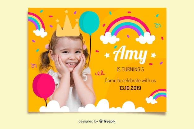 Template children birthday invitation with photo