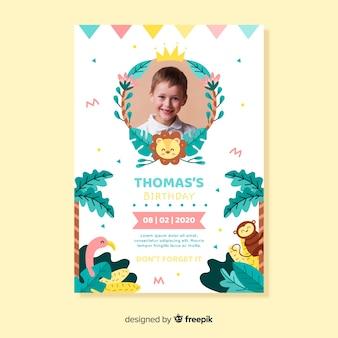 Template children birthday invitation with photo