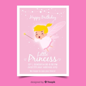 Princess Birthday Invitation Vector Free Download