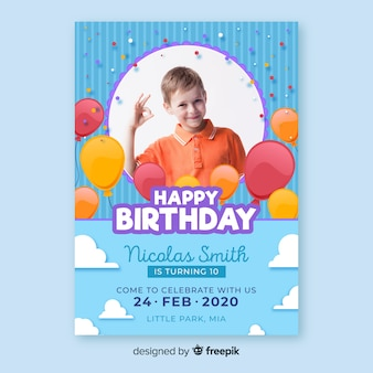 Template children birthday invitation