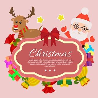 Template chirstmas with santa claus gift sacks