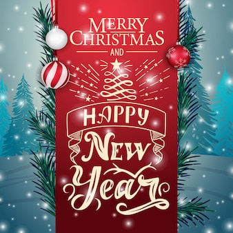 Template christmas card with red ribbon