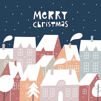 Template christmas greeting with winter town landscape.