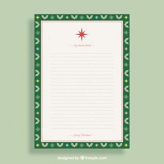 Modello di una lettera di natale ad un amico in una cornice verde