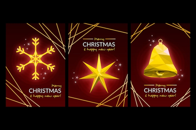 Template christmas poster in polygonal style