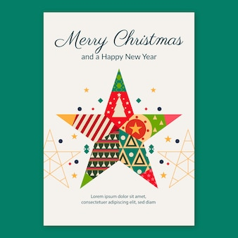 Template christmas poster with geometric shapes