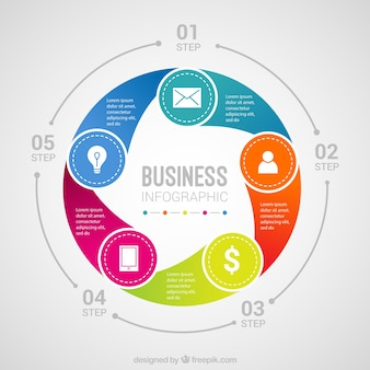 Template of circular infographic with colored steps