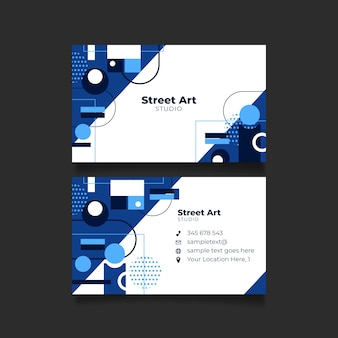Template classic blue abstract business card