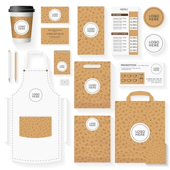 Template of coffee house corporate identity design set with memphis geometric pattern.