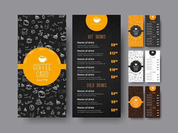 Template of the coffee menu for a cafe or restaurant. design leaflets black, white and orange with hand drawings and price.  illustration