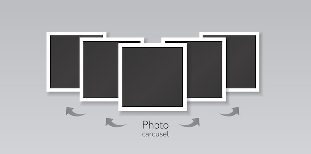 Template collage of square black images with white border and direction arrows to swiping