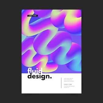 Template colorful fluid effect poster