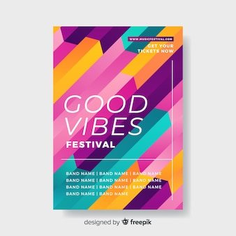Template colorful geometric music poster