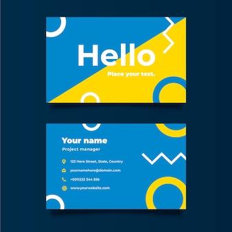 Шаблон красочной минимальной визитной карточки