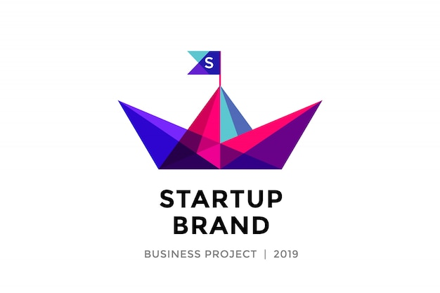 Template of colorful paper boat with inscription startup brand