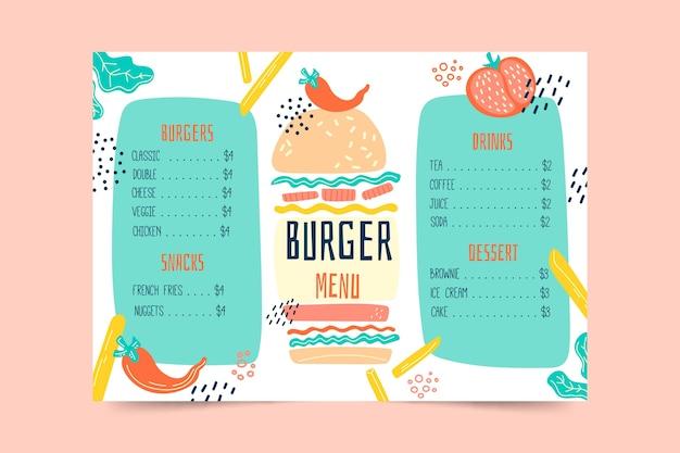 Template colorful restaurant menu
