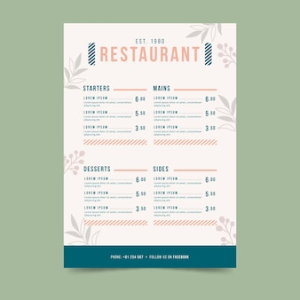 Template colorful restaurant menu