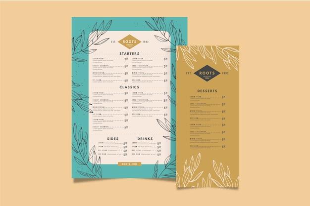 Шаблон красочного меню ресторана