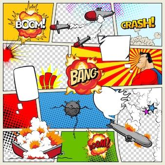 Шаблон страницы комиксов с военными кораблями. корабли в стиле поп-арт, которые взрываются. военные действия. страница комиксов разделена линиями с речевыми пузырями супергероя и звуковым эффектом.