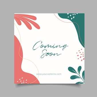 Template coming soon abstract background for social media post