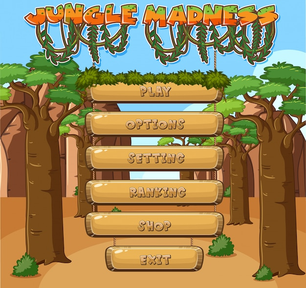 Template for computer game with jungle theme
