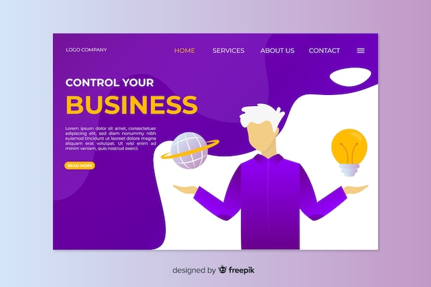 Template concept for business landing page
