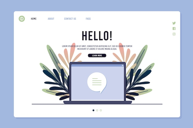 Template concept for landing page with laptop