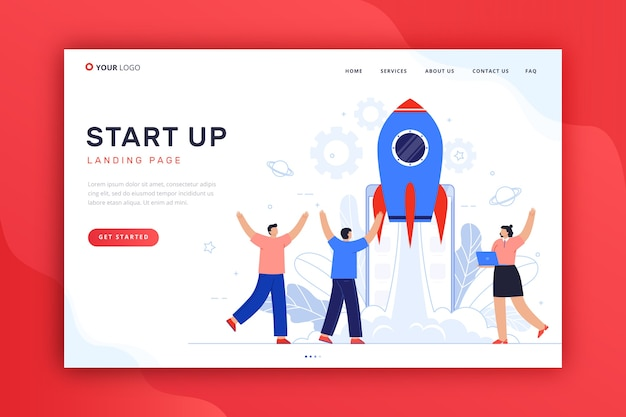Template concept for startup landing page
