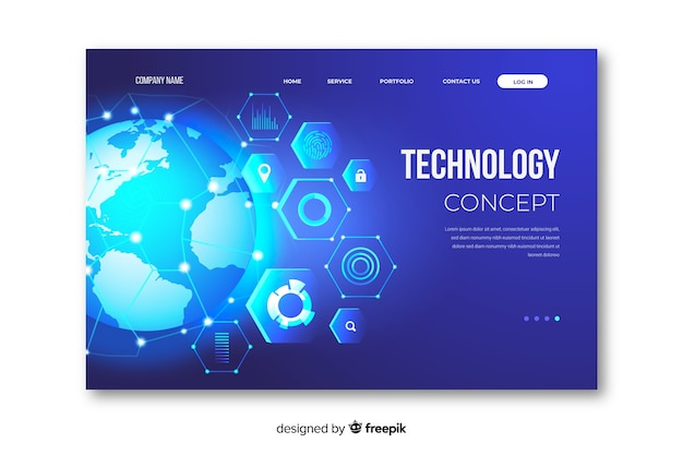 Template concept technology landing page