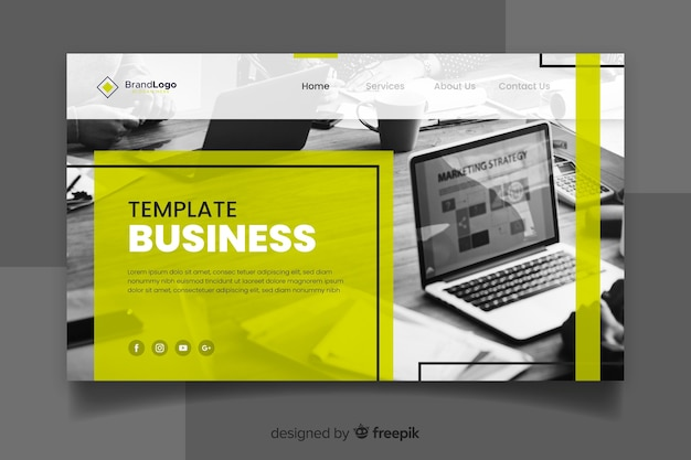 Template corporate landing page with photo